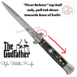Godfather Stiletto Knife Italian Style Classic Switchblade Automatic Knives - Marble Black Pearl (BEST Spring) Pivot Bolster