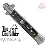 Godfather Stiletto Knife Italian Style Classic Switchblade Automatic Knives - Marble Black Pearl (BEST Spring) Handle