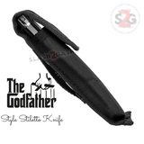 Godfather Stiletto Knife Italian Style Classic Switchblade Automatic Knives - Marble Black Pearl (BEST Spring) Nylon Belt Sheath Pouch