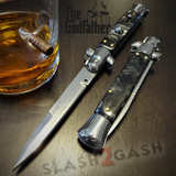 Godfather Stiletto Knife Italian Style Classic Switchblade Automatic Knives - Marble Black Pearl (BEST Spring)