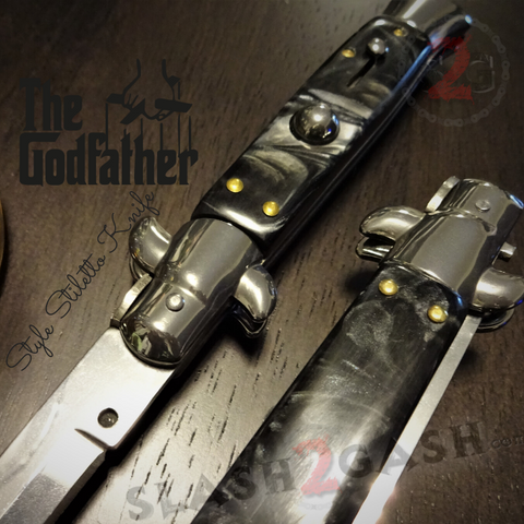 Godfather Stiletto Knife Italian Style Classic Switchblade Automatic Knives - Marble Black Pearl (UPGRADED Spring) slash2gash S2G