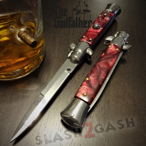 Godfather Stiletto Knife Italian Style Classic Switchblade Automatic Knives - Marble Red Pearl (UPGRADED Spring)
