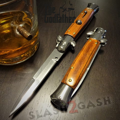 Godfather Stiletto Knife Italian Style Classic Switchblade Automatic Knives - Rosewood (UPGRADED Spring)