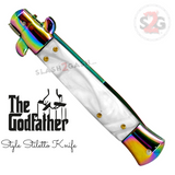 Godfather Stiletto Knife Italian Style Classic Switchblade Automatic Knives - Rainbow Marble White Pearl (UPGRADED Spring)