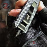 Real Damascus OTF Knife Carbon Fiber D/A Switchblade - Delta Force Automatic Knives - Dagger Serrated