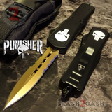 Golden Punisher OTF Knife D/A Skull Switchblade *Limited Edtition* Delta Force Automatic Knives - Serrated S2G slash2gash