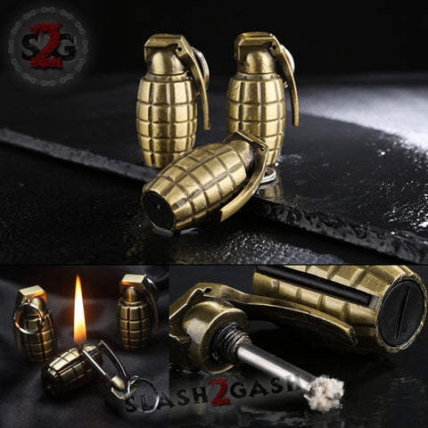 Grenade Fire Starter - Emergency Permanent Match Survival Key Chain Flint Camping Kerosene Lighter