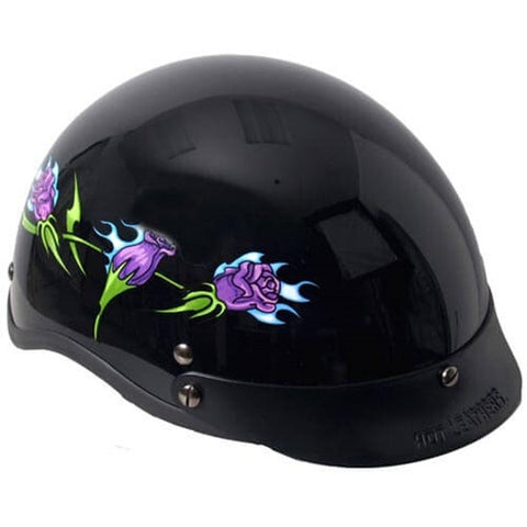 Hot Leathers D.O.T. Lady Purple Roses Gloss Black Finish Motorcycle Helmet