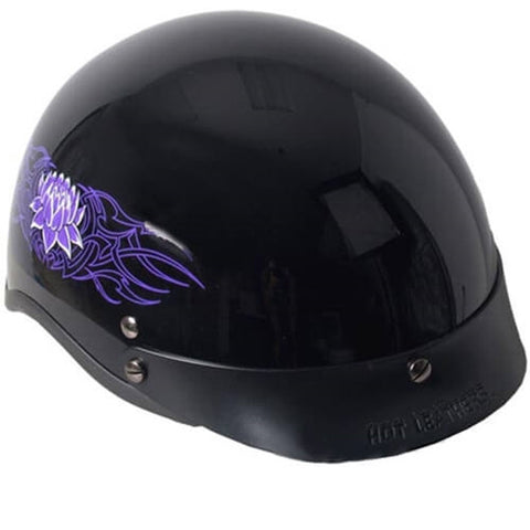 Hot Leathers D.O.T. Lady Purple Lotus Gloss Black Finish Motorcycle Helmet