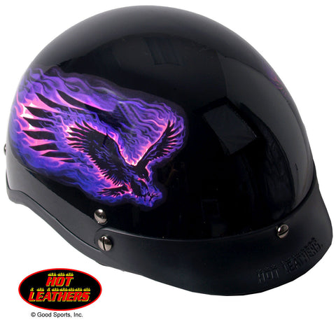 Hot Leathers D.O.T. Purple Blackout Eagle Gloss Finish Helmet