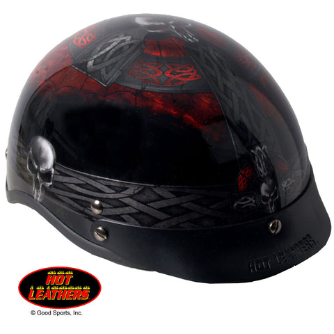 Hot Leathers Celtic Cross Helmet D.O.T. w/ Skulls Gloss Black Finish Motorcycle