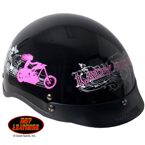 Hot Leathers D.O.T. Lady Rider w/ Roses Gloss Black Finish Helmet