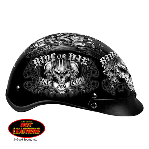 Hot Leathers D.O.T. Biker For Life Gloss Black Finish Motorcycle Helmet