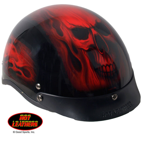 Hot Leathers D.O.T. Red Skull Flames Gloss Black Finish Motorcycle Helmet