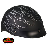 Hot Leathers D.O.T. Reflective Black Flames Matte Finish Motorcycle Helmet