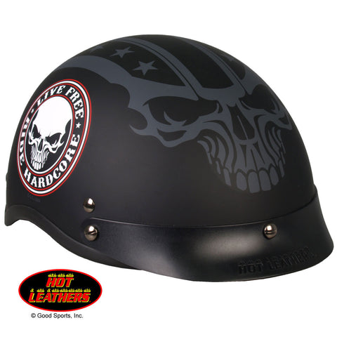 Hot Leathers D.O.T. Stencil Skull Matte Black Finish Motorcycle Helmet
