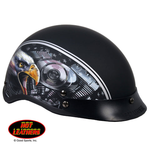 Hot Leathers D.O.T. American Eagle Matte Black Finish Motorcycle Helmet