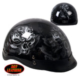 Hot Leathers D.O.T. Electric Skull Gloss Black Finish Motorcycle Helmet