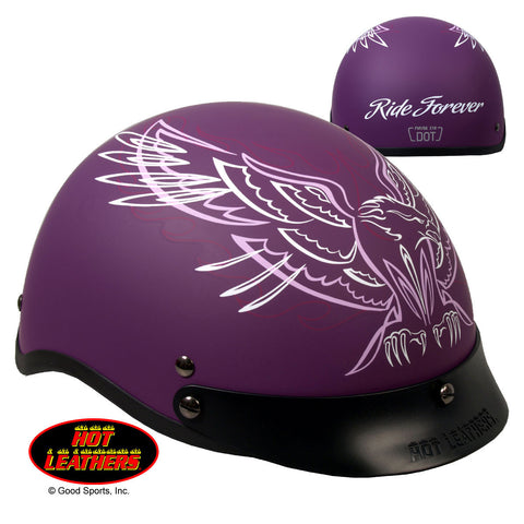Hot Leathers D.O.T. Ladies Pinstripe Upwing Matte Purple Motorcycle Helmet