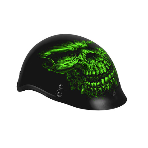 Hot Leathers D.O.T. Shredder Skull Matte Black Finish Motorcycle Helmet