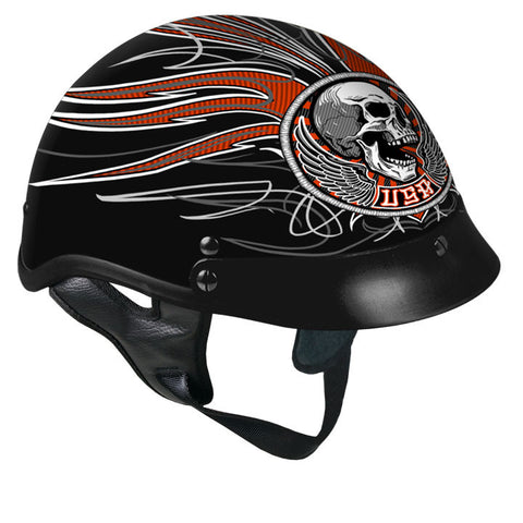Hot Leathers D.O.T. Stitches Skull Gloss Black Finish Motorcycle Helmet