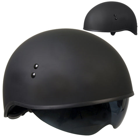 Hot Leathers D.O.T. Matte Black Motorcycle Helmet w/ Drop Down Visor