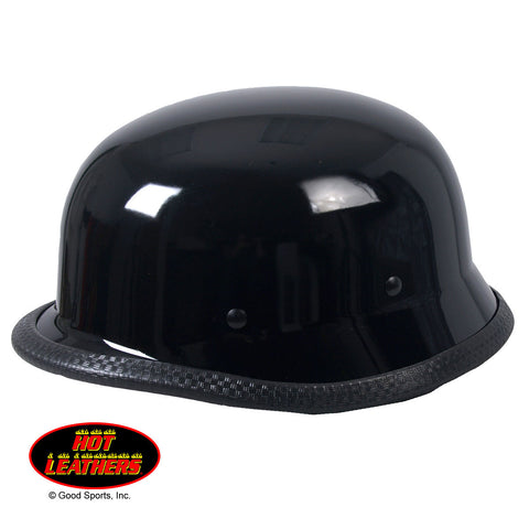 Hot Leathers German Style Gloss Black Low Profile Novelty Helmet Shiny
