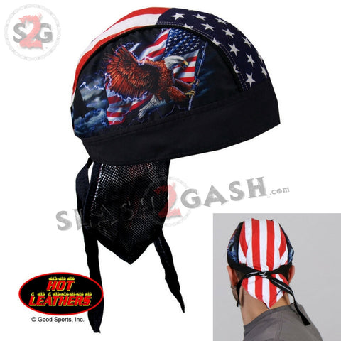 Hot Leathers Premium Headwrap - Flag & Eagle Motorcycle Durag