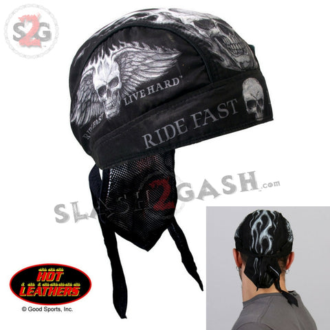 Hot Leathers Bad Scratch Headwrap Winged Skull Premium Biker Du-Rag