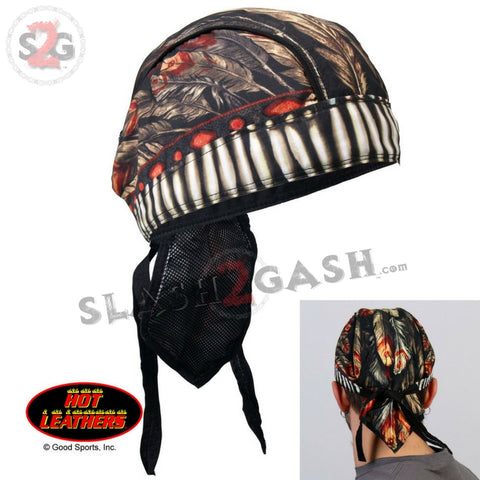 Hot Leathers Native American Headdress Headwrap Indian Premium Biker Du-Rag Doo Rag Cap