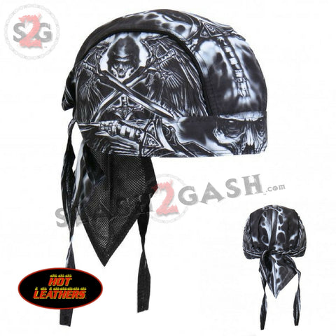 "Hot Leathers Death Wings Premium Headwrap ""Reaper"" Biker Du-Rag Doo Rag Skull Cap"