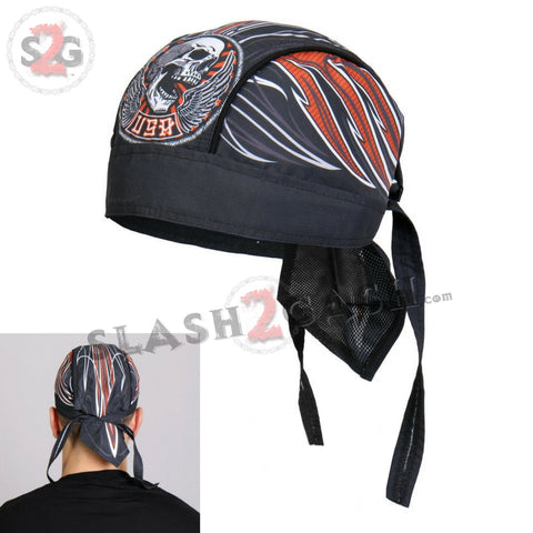 Hot Leathers Stitches Headwrap Winged Skull Pinstripe Biker Du-Rag