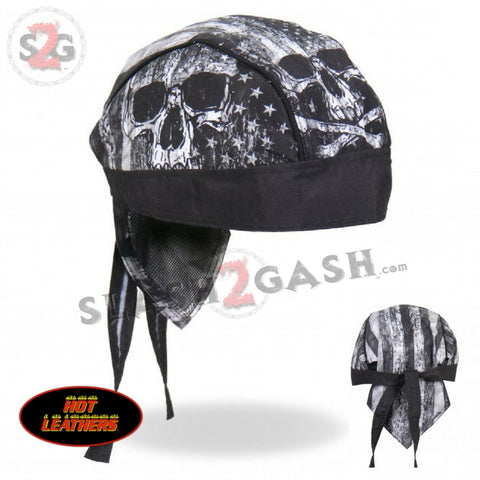Hot Leathers Premium Headwrap - Flag Skull Motorcycle Durag