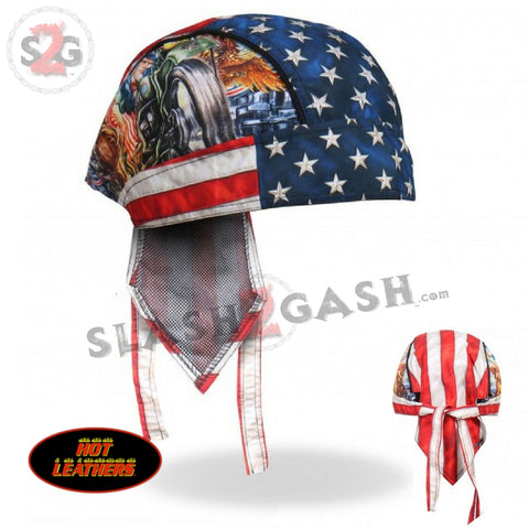 Hot Leathers Uncle Sam Racer Headwrap American Flag Premium Biker Durag Doo Rag Cap
