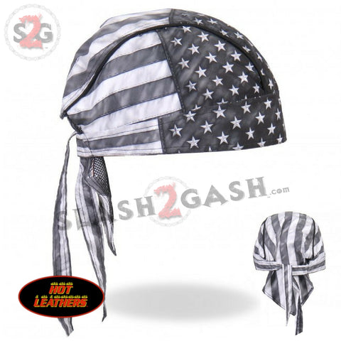 Hot Leathers Distressed American Flag Headwrap Premium Durag - Gray Doo Rag Cap
