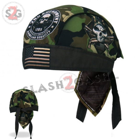 Hot Leathers 2nd Amendment Camo Skull Headwrap Premium Biker Du-Rag Head Wrap HWH1094