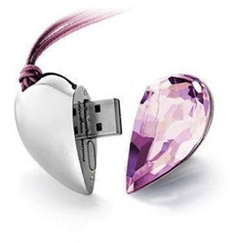 Crystal Necklace Heart USB Flash Drive 2.0 PINK Pendant Charm 16gb