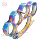 Classic Heavy Duty Belt Buckle & Paperweight - Titanium Rainbow Brass Knuckles Solid Aluminum