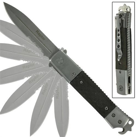 Hidden Release Dual Action Automatic Knife Serrated Black Diamond Wood - Raptor