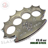 Robbie Dalton Brass Knuckles Irish TUFF Spiked Paperweight - Silver Chrome Dalton Global Knucks Heavy Duty Buckle Duster