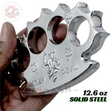 Irish TUFF Dalton Global Brass Knuckles Spiked Paperweight - Silver Chrome Robbie Dalton Knucks Heavy Duty Buckle Duster