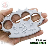 Rob Dalton Brass Knuckles Supreme Irish Spiked Paperweight - Silver Chrome Licensed Robbie Dalton Global Knucks Heavy Duty Steel Buckle Duster