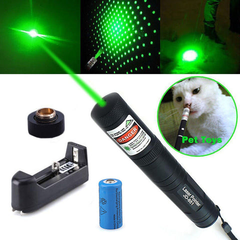 Green Laser Pointer Pen JD-851 High Power Military Grade 10 Miles + Star Cap + Battery + Charger 532nm