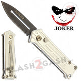 Mini Joker Automatic Knife California Legal Switchblade - Silver