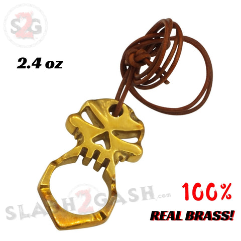 One Finger Punisher Skull Knuckle Self Defense Keychain - REAL BRASS w/ Leather Jabber Necklace