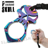 One Finger Skull Knuckle Paracord Self Defense Keychain - Rainbow