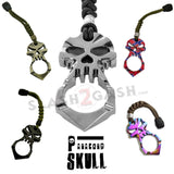 One Finger Punisher Skull Knuckle Paracord Self Defense Keychain - 6 Colors