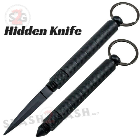 Kubotan Hidden Knife Self Defense Stick Keychain w/ Dagger - Black Key Chain kubaton kobutan
