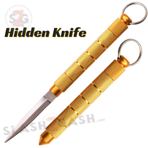 Kubotan Hidden Knife Gold Self Defense Stick Keychain w/ Dagger - Key Chain kubaton kobutan Ninja weapon