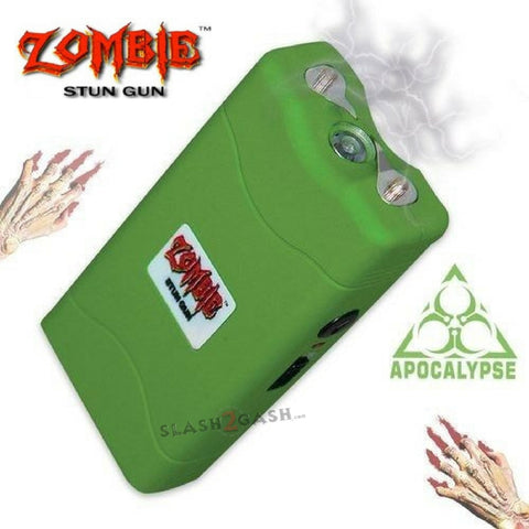 Zombie High Voltage Rechargeable STUN GUN w/ PIN & Holster Green
